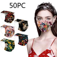 50pc Fashion Floral Mask For Women Disposable 3ply Mouth Breathable Print ProtecEar Loops Masque Decoration