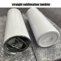 20oz Sublimation Straight tumblers with Steel Straw Rubber Bottoms Stainless tumbler Coffee Mug Water Bottle Shiny Matte Cups