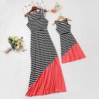 Family Matching Outfits Mother Daughter Dresses Children Clothing Girls Clothes Summer Cotton Striped Long Kids Beach Dress B6295