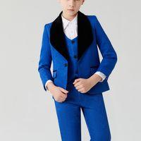 Royal Blue Boy's Kids Formal Wear Bambini Abiti per la festa nuziale Anello Anello Bearrector Occasioni Abbigliamento per bambini Abiti Abbigliamento Blazer (Giacca + Vest + Pants + Bow) Dobby Pink Black