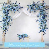 Decorative Flowers & Wreaths Custom Wedding Props Arch Backdrop Party Event Decor Artificial Flower Row Silk Blue White Outdoor Lawn Fake Ar