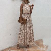 Casual Dresses Summer Boho Dress Women Elegant Ankle-length Sexy Sleeveless Leopard Dot Polk Printed Long Evening Party