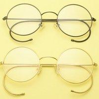 أزياء النظارات الشمسية إطارات خمر العتيقة جولة سلك حافة النظارات السنانير الأذن الكامل الرجعية الملك الإمبراطور جون لينون نظارات 42 ~ 50 ملليمتر