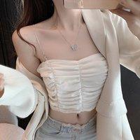 Women's Tanks & Camis Women Halter Basic Cami Sleeveless Satin Folds Silk Tank Tops Summer Camisole Plus Size Shirts Spaghetti Strap Top
