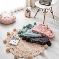 Nordic Ins Round Play Mats Baby Coperta per bambini a maglia da maglia tappeto tappeto per bambini Camera Bed Bed Bed Scob Tenda Decor Ornamenti Puntelli fotografici