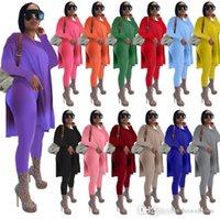 Kadın Tasarımcılar Giysileri 2021 Eşofman Iki Parçalı Set Suits Uzun Kollu Suit Katı Orta Uzunlukta Bölünmüş Artı Boyutu Kadın Giyim XS - 5XL
