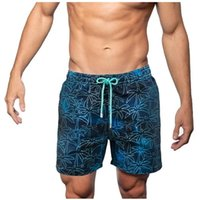 Men's Printed Two-layer Pocket Beach Leisure Mens Swim Trunks Summer Bathing Suit Shorts 2021