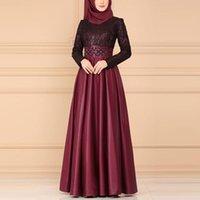 Ethnic Clothing Muslim Women Abaya Dress Split Lace Vintage Arabic Kimono Jubah Dubai Elegant Islamic Femme S-5XL Without Headscarf