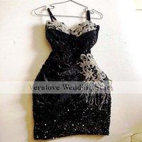 Black Sequins Lace Cocktail Dress 2021 Spgahetti Straps Short Prom Gowns Vestidos Formales robe de soirée de mariage