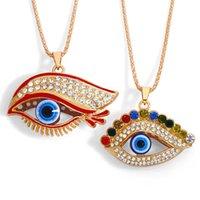 디자이너 큰 눈을 가진 개인화 된 컬러 목걸이 여성 패션 거리 슈팅 다이아몬드 긴 속눈썹 악마의 눈 목걸이 NKT60