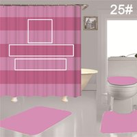 Simple Pattern Shower Curtains Waterproof Bath Curtain Non Slip Rugs Toilet Lid Cover Mat Set Bathroom Decor