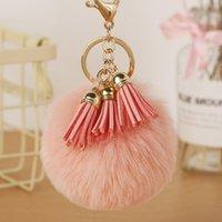 Keychains Fluffy Pompom Women Faux Fur Ball Pendant Car Key Rings Holder Charm Tassel Cute Chain Handbag Jewelry Gift