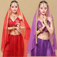New Indian Dance Performance Scarf Specialerbjudanden Belly Dance Headdress Veil Lace Scarf Halsband Örhängen Finger Armband