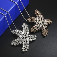F&U Fashion Crystal Starfish Design Pendant Snake Long Chain Necklace For Four Season Charming Women 2 Colors Choice Chains