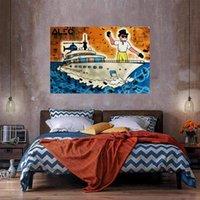 Homme riche Yacht Home Decor énorme peinture à l'huile sur toile peignée à la main / HD-Print Art Pictures Personnalisation est acceptable 21050906