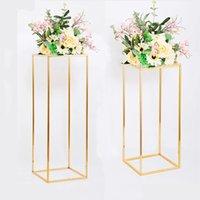 Rechteckiger Goldmetall-Hochzeitsblumenständer, geometrische Mittelstück Vasen Home Decoration