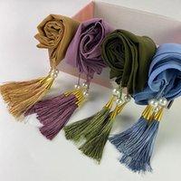 Ropa étnica 4pc / caja Premium gasa personalizado hijab perlas bufanda con tassel musulmán pañuelo de cabeza chal y envoltura femulos foulard turbante estoles