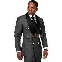 Handsome Double-Breasted Groomsmen Shawl Lapel Groom Tuxedos Men Suits Wedding Prom Dinner Man Blazer(Jacket+Tie+Pants) T335