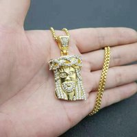 Hip Hop Bling Gold Color Acero inoxidable Jesús Pieza de Jesús Colgantes Collar para Hombres Rapero Joyería Joyería Colgante Collares