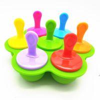 Moldes de picolé multi-propósito Moldes verão Silicone 7 furos Popsicl Colorido DIY Gelado Bandeja Creative Bolo Dedicado Molde Verde DWF7300