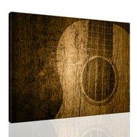 Guitar Pittura Acoustic Musician Canvas Art Parete per la casa Decor Musica vintage Poster Streched su Immagine in legno rustico Pronta da appendere 12x16inch