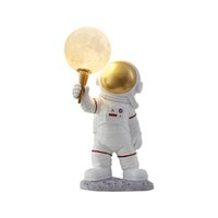 Nordic Resin Decor LED Moon Lights For Bedroom Table Lamps Hotel Living Room Lobby Exhibition Hall Vertical Table Light Creative Study bedside Astronaut Desk Lamp