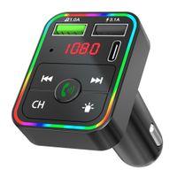 F2 Bluetooth Автомобильный комплект FM-передатчик Модулятор красочные Светодиодная подсветка Беспроводной радиопередача HandsFree для телефона TF MP3-плеер типа C порт