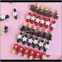 Decorations Festive Supplies & Garden20Pcs Mini Christmas Wooden Elk Deer Wood Clip Po Clothespin Craft Clips Xmas Ornaments Home Navidad No