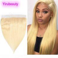 Capelli vergini brasiliani 13x4 pizzo frontale 613 # Bionda Remy Human Hair Human Silky Dritto 10A Presociato 13x4 pizzo frontale 8-22inch Straight