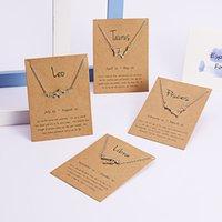 12 Constellation Zodiac Collier Horoscope Signe Zircon Coréen Bijoux Star Galaxy Libra Astrologie Femmes Colliers Cadeau avec carte de détail