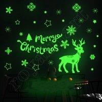 2021 Leuchtende Weihnachtsdekorationen Elch Schneeflocke Glas Aufkleber Weihnachten Statische Fenster Wandaufkleber