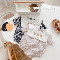 Baby Clohtes Bear Embroidery Collar Check Rompers Summer 2021 Kids Boutique Clothing 0-2T Infant Toddlers girls Cotton Crawl Onesies Super Cute