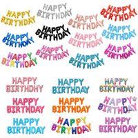 Venta al por mayor de 16 pulgadas letras letras letras Set Feliz cumpleaños Aluminio Foil Balloon Cumpleaños decoraciones de fiesta