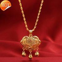 Jindian نفس ذهبية قفل سلامة قلادة للأطفال النحاس تقليد النساء بالجملة DDS146-LD