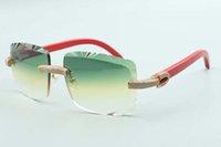 2021 أحدث النمط القطع عدسة مايكرو المعبدة الماس النظارات الشمسية 3524020، ريد معابد خشبية النظارات، الحجم: 58-18-135 ملم