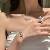 Earrings & Necklace Design Fashion Jewelry Exquisite Copper Inlaid Zircon Flower Open Ring Bracelet Clavicle Female Prom Set