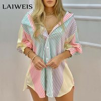 Casual Dresses LAIWEIS Spring Summer Women Color Striped Button Front Shirt Mini Blouse Dress Femme Robe Office Lady Outfits Traf 2021