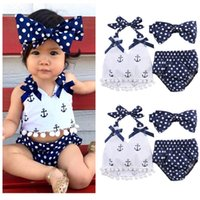 Clothing Sets Toddler Infant Baby Girls Clothes Anchors Tops Shirt Polka Dot Briefs Head Band 3pcs Outfits Set
