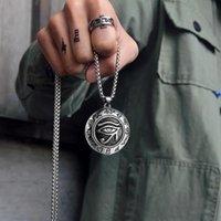 Pendentif Colliers Dutrieux Retro Viking rune Horus Eye ronde Mode Métal Métal Titane Titanium Bijoux Accessoires Cadeau de fête