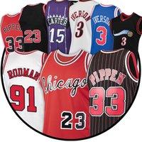 Basketball Jersey Men 23 Michael Scottie 33 Pippen Retro Dennis 91 Rodman Youth Kids Beige