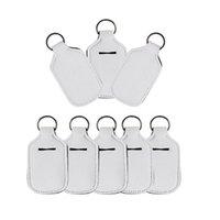 Blank White For Sublimation Neoprene Hand Sanitizer Bottle Holder Lipstick Holder Keychain Bags 30ML Perfume Hand Washing Fluid