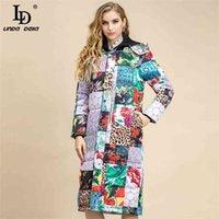 Sprint الأزياء مصمم طويل مقنعين أسفل معطف المرأة الياقة المدورة النمر النقاط طباعة خمر دافئ بطة أبلى 210522