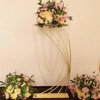 Party Decoration Romantic Arch Flower Plinths Wedding Table Centerpieces Floral Display Rack Grand Event Crystal 18K Gold Metal Stand