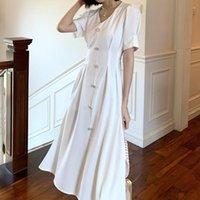 Casual Dresses Women's Summer Sundress Sexy V-neck Short Sleeve Female Vestidos Button Slim Elegant Office Ladies Robe Femme 2021