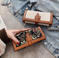 Vintage İşlemeli Debriyaj Çanta Kadınlar Klasik Marka Çok Kart Yuvası Sikke Çanta Kredi Kartı Fotoğraf Bit Cüzdan Moda Basit Bayanlar Tuval Cüzdan