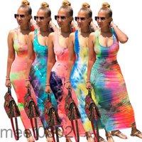 2021 Nuevas mujeres Vestido Diseñador Moda U-cuello Falda larga Falda Corbata Tiegada Atrás Vendaje Vestidos Venta caliente 5 Colores Casual Tobillo Longitud Falda