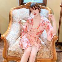 Jiuai Sexy Sous-Vêtements Sexy Mousseline de mousseline de soie imprimée Kimono Uniforme Temptation Pajama Pajama Play Play