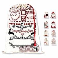DHL 크리스마스 산타 자루 캔버스 면화 가방 대형 유기농 무거운 Drawstring 선물 개인화 된 축제 파티 장식 CS10
