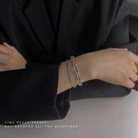 Link, Chain Simple Women Bracelet Elegant Bracelets Woman Korean Fashion Hollow Bangles Jewelry Silver Color Trendy Zinc Alloy Armband