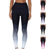 Women's Leggings Sexy Women Gradient Elastic Legging Tracksuit High Waist Sportswear Running Sport Fitness Bottoming Pants#F3